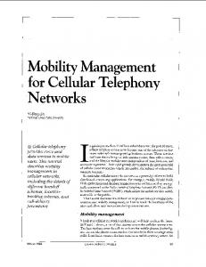Mobility management for cellular telephony networks - CiteSeerX