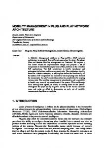 mobility management in plug and play network