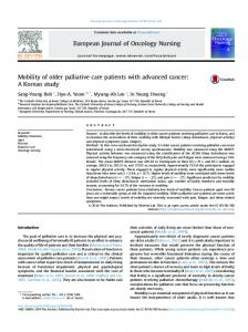 Mobility of older palliative care patients with advanced cancer: A ...