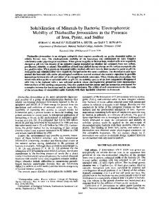 Mobility of Thiobacillus ferrooxidans in the Presence of Iron, Pyrite ...
