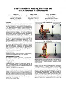 Mobility, Presence, and Task Awareness in Telepresence