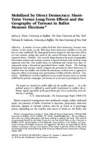 Mobilized by Direct Democracy: Short- Term Versus Long-Term Effects ...
