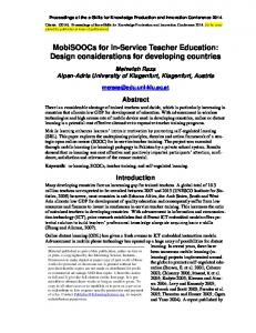 MobiSOOCs for In-Service Teacher Education ...