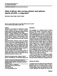 Mode of delivery after previous obstetric anal ... - Semantic Scholar