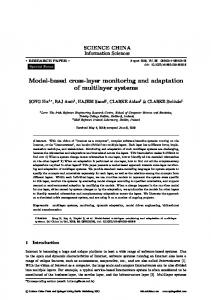 Model-based cross-layer monitoring and adaptation of ... - Springer Link
