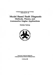 Model Based Fault Diagnosis - Vehicular Systems