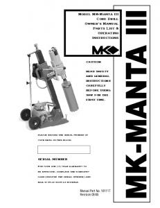 Model MK-Manta III Core Drill Owner's Manual Parts List ...