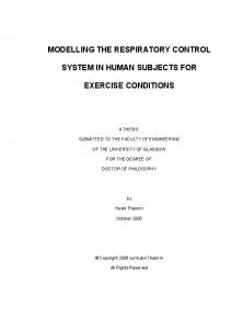 Model of Respiratory System under Exercise Condition - University of