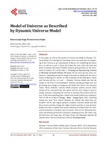 Model of Universe as Described by Dynamic Universe Model