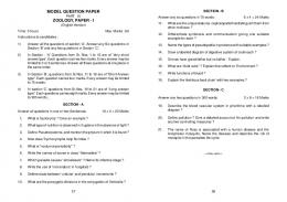 MODEL QUESTION PAPER ZOOLOGY, PAPER - I - eTuitions