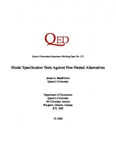 Model Specification Tests Against Non-Nested Alternatives - Queen's ...