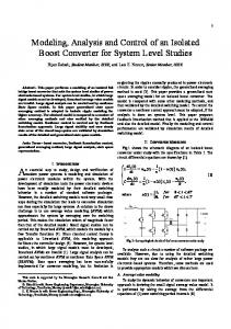 Modeling, Analysis and Control of an Isolated Boost Converter ... - NTNU