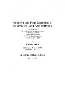 Modeling and Fault Diagnosis of Automotive Lead-Acid Batteries