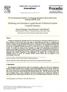 Modeling and Simulation Agent-based of Natural Disaster ... - Core
