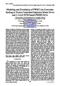 Modeling and Simulation of PWM Line Converter feeding to Vector