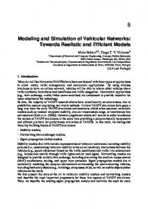 Modeling and Simulation of Vehicular Networks ...