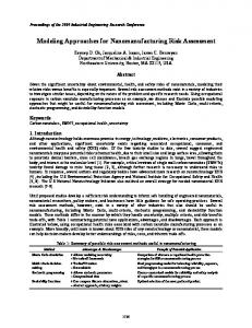 Modeling Approaches for Nanomanufacturing Risk ...