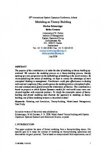 Modeling as Theory-Building - System Dynamics Society