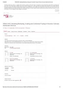Modeling Biofouling, Scaling and Combined Fouling ...