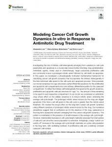 Modeling Cancer Cell Growth Dynamics In vitro in ... - Semantic Scholar