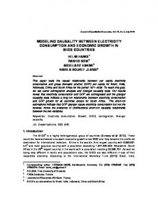 modeling causality between electricity consumption and economic ...