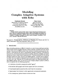 Modeling Complex Adaptive Systems with Echo - Semantic Scholar