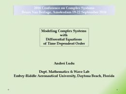 Modeling Complex Systems with Differential