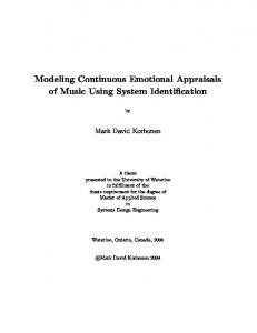 Modeling Continuous Emotional Appraisals of Music ... - CiteSeerX