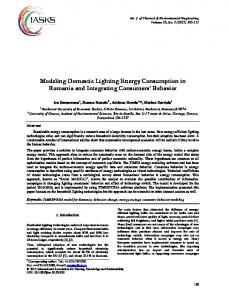 Modeling Domestic Lighting Energy Consumption in Romania ... - IASKS