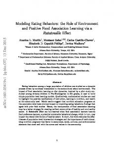 Modeling Eating Behaviors: the Role of Environment and ... - arXiv