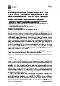 Modeling Future Land Cover Changes and Their Effects on the ... - MDPI