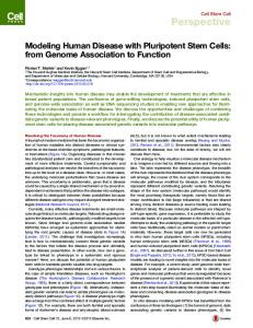 Modeling Human Disease with Pluripotent Stem Cells - Cell Press