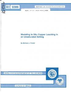Modeling In Situ Copper Leaching in an Unsaturated ... - CDC stacks