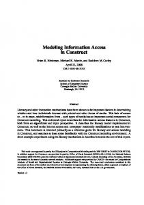 Modeling Information Access in Construct - CASOS cmu - Carnegie ...