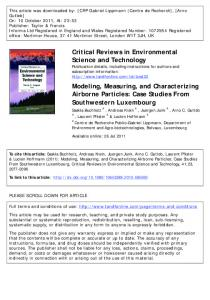 Modeling, Measuring, and Characterizing Airborne ...