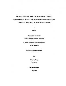 modeling of arctic stratus cloud formation and the ... - CiteSeerX