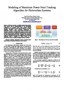 Modeling of Maximum Power Point Tracking Algorithm for Photovoltaic ...