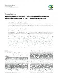 Modeling of the Strain Rate Dependency of Polycarbonate's Yield ...