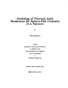 Modeling of Thermal Joint Resistance for Sphere-Flat Contacts ... - SFU