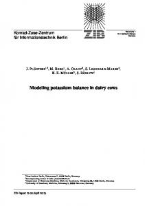 Modeling potassium balance in dairy cows