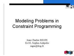 Modeling Problems in Constraint Programming