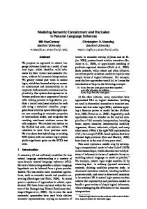 Modeling Semantic Containment and Exclusion ... - Stanford NLP Group