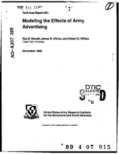 Modeling the Effects of Army Advertising - DTIC