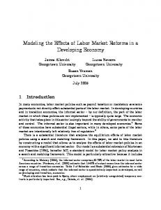 Modeling the Effects of Labor Market Reforms in a ... - CiteSeerX