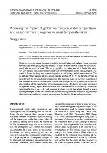 modeling the impact of global warming on water temperature and ...