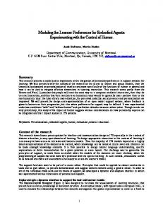 Modeling the Learner Preferences for Embodied ... - Semantic Scholar