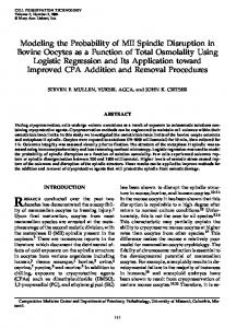 Modeling the Probability of MII Spindle Disruption in Bovine Oocytes ...