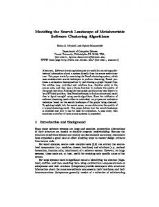 Modeling the Search Landscape of Metaheuristic Software Clustering ...