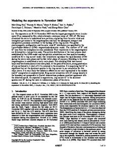 Modeling the superstorm in November 2003 - Wiley Online Library