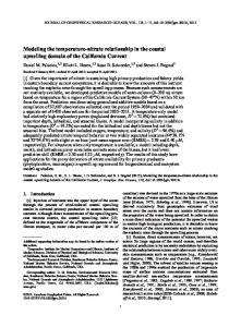 Modeling the temperaturenitrate relationship in the ... - CCE LTER
